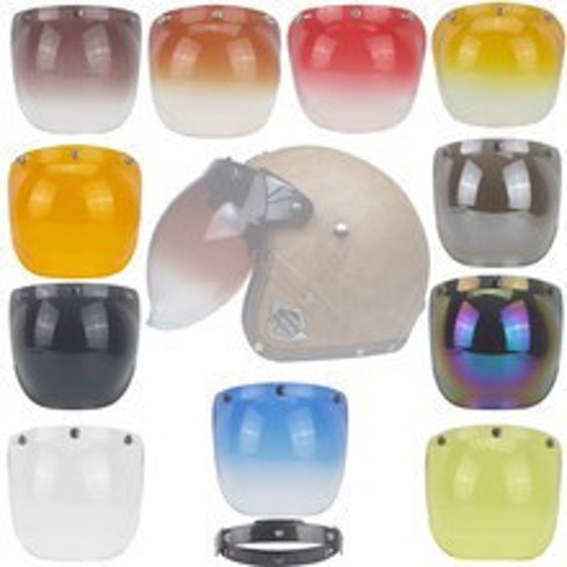 PC plastic bubble visVor top quality face motorcycle ヘルメット visor 12 colors available vint【領収発行可】