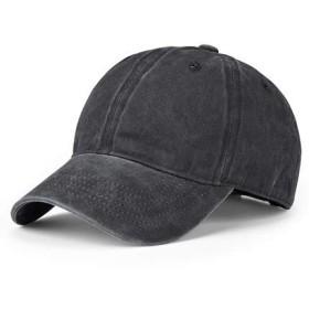 デニム キャップ 帽子 ポーツ帽子 野球帽 紫外線対策ス 日よけ野球帽 ヴィンテージ風 無地 おしゃれ ズ調整可能 男女兼用 (ブラック)