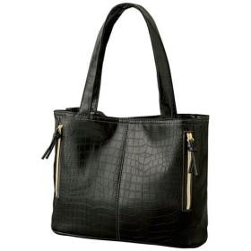 クロコ調すっきり整頓お出かけトートバッグ - セシール ■カラー:ブラック