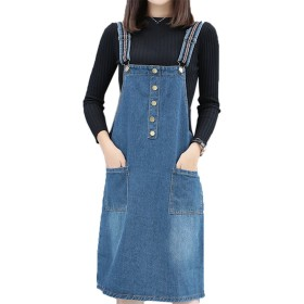 ZUOMA(ズオマ) ウォッシュデニム スカート オーバーオール ジャンパースカート サロペット (5XL, ブルー)
