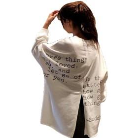 Bestmoodトレーナー レディース 長袖パーカー クルーネック オーバーサイズ トップス 韓国ファッション 春服 黄色(白)