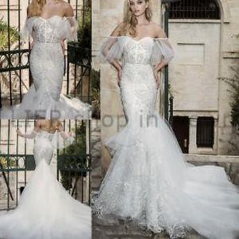 ウェディングドレス/パーティドレス オフショルダーレースアップ マーメイドウェディングドレス トレーン