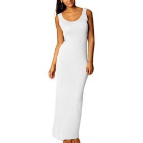 女性の夏のマキシ丈ロングボディコンのビーチパーティーのベストドレス White LmtYD1033A-White-M