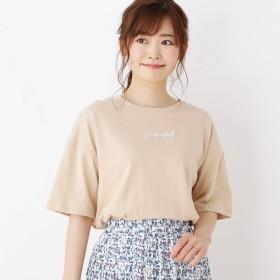 3can4on(Ladies)(サンカンシオン:レディース)/ロゴ刺繍入りビックTシャツ
