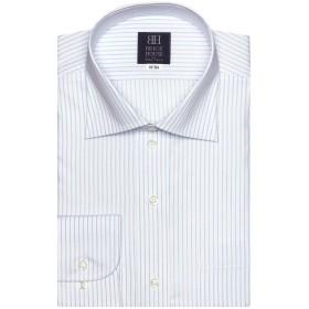 【31%OFF】 ワイシャツ 長袖 形態安定 ワイド 白×ブルーストライプ 標準体 ブルー LL-86