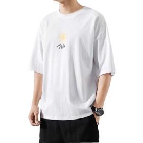 BeiBang(バイバン)tシャツ メンズ 半袖 トップス カットソー 大きいサイズ 韓国ファッション 薄手 夏物 プリント クルーネック(16白)