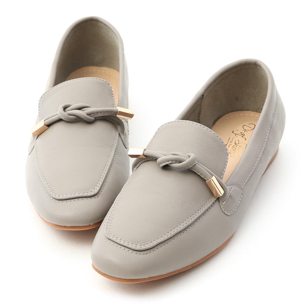 D+AF 好感輕著 小金飾綁結柔軟樂福鞋  灰