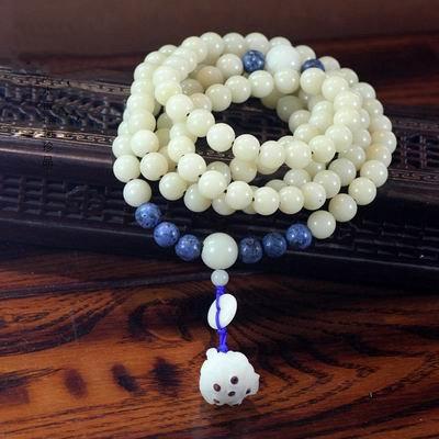 【白菩提根佛珠手串手鏈-108顆/串-珠徑0.6cm-1串/組】108顆佛珠手串手鏈 天然藍珊瑚精雕蓮蓬菩提子-38001