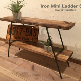 40 [Iron Mini Ladder Shelf] 送料無料 キッチン棚 スパイスラック ラダー 折りたたみ棚