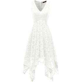 Bridesmay 結婚式ワンピース ノースリーブ レース 不規則裾 フレア 二次会 パーティードレス レディース ホワイト 2XL サイズ