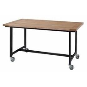 キャスター付 移動可能 車輪付き ダイニングテーブル ダイニング用テーブル 食卓テーブル 机 【幅135×奥行80cm×高さ72cm】 長方形 金属