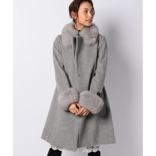 (Piccola Donna/ピッコラドンナ)尾州ビーバー 衿袖ファー付コート/レディース グレー