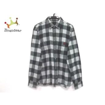 パパス Papas 長袖シャツ サイズ48 XL メンズ 美品 グレー×グリーン チェック柄 新着 20190716