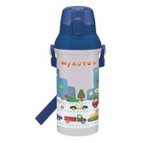 水筒 直飲み プラスチック ワンタッチボトル 480ml 子供 ノンキャラクター 軽量 MyAUTOS