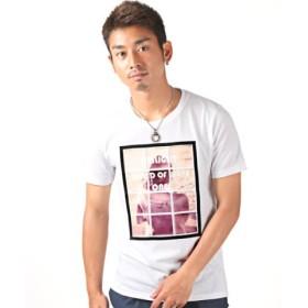 (LUXSTYLE/ラグスタイル)ガールフォト&エンボス加工ロゴプリント半袖Tシャツ/Tシャツ メンズ 半袖 ガール フォト エンボス加工/メンズ ホワイト