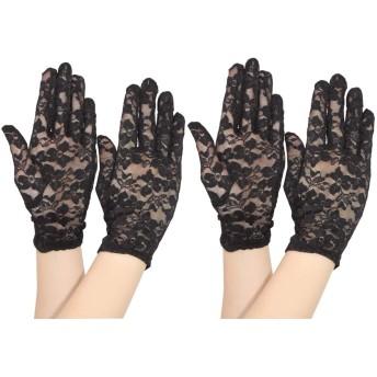 Cota's home レディース ショートグローブ 手袋 2双セット 薄手 ネイル隠し ベルベット生地 上品にまとまるおしゃれアイテム 1年間保証付き (ブラック2双)