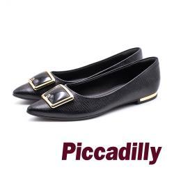 Piccadilly 時尚登場 尖頭方釦低跟淑女鞋 -黑(另有白)