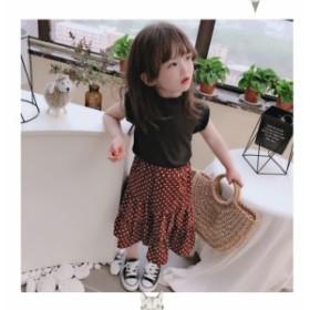 韓国子供服 カジュアルスカートセット 女の子 新作 ファッション プリーツ 可愛い  ドッド 韓国風 結婚式 ダンス発表会 発表会 普段着 旅
