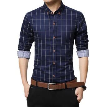 チェック ワイシャツ メンズ カジュアル 人気 かっこいい スレンダー お洒落 ボタンダウン 長袖 スリム yシャツ (NAIL39) (ネイビー 濃紺、2XL)