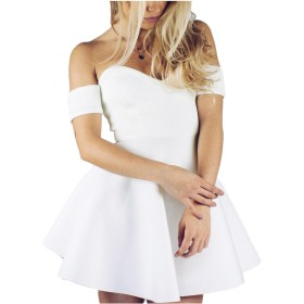 YACUN 女性のミニ花嫁介添人ドレスパーティードレスを肩のライン White XL