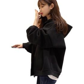 (チエン チエン )Qian qian レディース ジャケット パーカー スウェット ブルゾン トレーナー シンプル 長袖 無地 かわいい 部屋着 プレゼント 女性用 (ブラック)