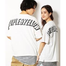 (COMME CA ISM/コムサイズム)ビッグ バックロゴプリン ト半袖 ワイドTシャツ/ユニセックス アイボリー