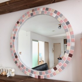 【壁掛け出来るウォールミラー】鏡 インテリアパネル タイル 壁掛け