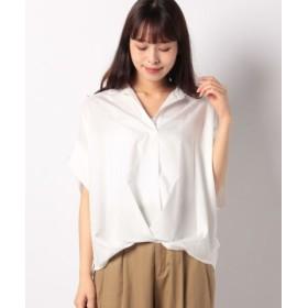 (INTERPLANET/インタープラネット)シルキーサテン半袖タックシャツ/レディース オフホワイト