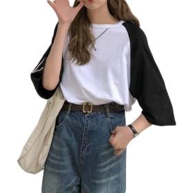 BSCOOLレディース tシャツ 7分袖 ゆったり トップス 切り替え ファッション おしゃれ tシャツ 韓国ファッション 白tシャツ(黒)