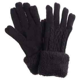 手袋 レディース ニット ケーブル編み 裏フリース ボア ファー 防寒 プレゼント 冬 Fサイズ/ブラック(07)