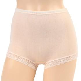 おへそが出ない 大判ショーツ やわらかガーゼタッチ 綿100% 一分丈 おなかすっぽり 日本製 (L, ピンク)