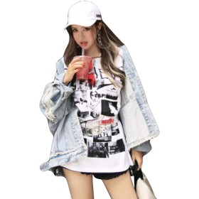 (BaLuoTe)レディース デニム コート ジャケット オーバーコート ゆったり ブルゾン コート ジャケット bf風 春秋 長袖 個性 ジージャン コートライトブルーT3