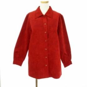 【中古】ピノーレ PINORE セットアップ スエード ジャケット パンチング スカート ロング 15 赤 レッド ☆K☆ /yt0608