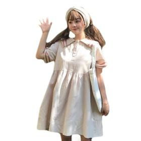 YiTong レディース ワンピース 夏 半袖 ドレス ワンピース シャツ リボン 森ガール ワンピース 少女 ゆったり ワンピース ハイウエスト 海軍領 可愛い ワンピース バイカラー 原宿風 ベージュ