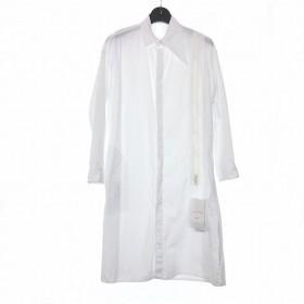 【中古】ヨウジヤマモトノアール YOHJI YAMAMOTO NOIR B YOHJI YAMAMOTO 18AW アシメ ファスナーシャツ ロングシャツ 長袖 サイドスリット 2 ホワイト 白