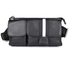 Lannsyne 本革 ウエストバッグ ボディバッグ メンズ 3way 軽量 防水 セカンドバッグ カジュアル ブラック