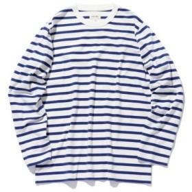 (BEAMS MEN/ビームス メン)BEAMS/スムースボーダー Tシャツ/メンズ WHITE