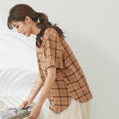 慢 生活 窗格紋色織上衣- 杏/卡