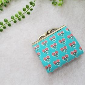 爽やかなターコイズにレトロな花柄 ジャバラ式 がま口ミニ財布