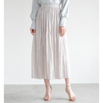 【ラウンジドレス/Loungedress】 ストライプラメプリーツスカート