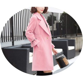 ジャケット女の人の長いセクション秋と冬のスリムな厚い金のミンクの毛皮のコート,ピンク,XL