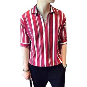 [グードコ] 夏服 ハワイシャツ メンズ Tシャツ 五分袖 半袖 ストライプ ボーダー柄 トップス シャツ 4カラー ゆったり カジュアル カットソー 潮 かっこいい レッド M