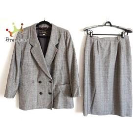レリアン Leilian スカートスーツ サイズ11 M レディース 美品 ダークグレー×黒×レッド   スペシャル特価 20191007