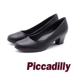 Piccadilly 質感木紋 優雅OL中跟女鞋 - 黑 (另有卡其)