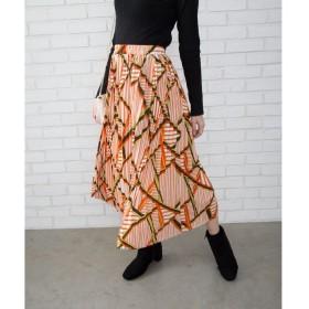 Libby & Rose レトロ柄プリーツスカート オレンジ M レディース 5,000円(税抜)以上購入で送料無料 ロングスカート 夏 レディースファッション アパレル 通販 大きいサイズ コーデ 安い おしゃれ お洒落 20代 30代 40代 50代 女性 スカート