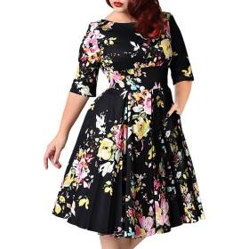 女性のヴィンテージカクテルイブニングドレス1950年代の花のパーティードレス,ブラック,7XL