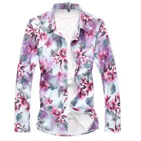 Tenflow 長袖シャツ メンズ 花柄シャツ カジュアルシャツ アロハシャツ リゾート M~8L シャツ おしゃれ 男性用 dsa056-219(6XL 219レッド)