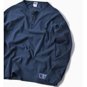 【シップス/SHIPS】 RUSSELL ATHLETIC×SHIPS: 別注 ユーズド加工 ヘンリーネック ロングTシャツ 19SS