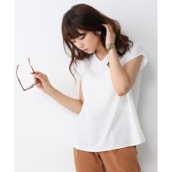 【とろみシリーズ】前後2WAYフレンチスリーブTブラウス(セットアップ対応) (ブラウス)Blouses, Shirts, 衫, 襯衫