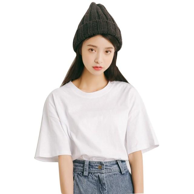 Rimocy 半袖tシャツ レディース 無地 ゆったりコットン ファッション トップス5色 (白)